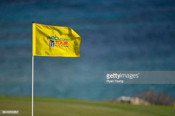 A pin flag billows in the wind during the second round of the Webcom Tour's The Bahamas Great Exuma Classic at Sandals Emerald Bay Emerald Reef...