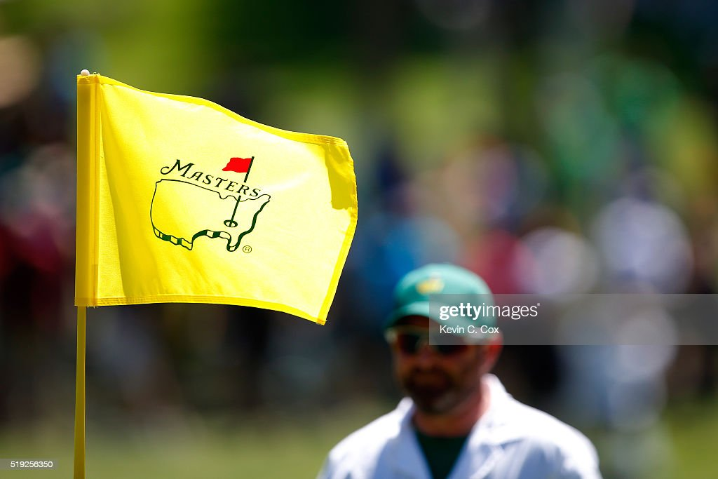 A pin flag blows in the wind during a practice round prior to the start of the 2016 Masters Tournament at Augusta National Golf Club on April 5, 2016 in Augusta, Georgia.