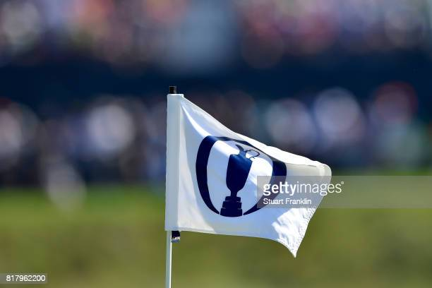 A pin flag flutters in the breeze during a practice round prior to the 146th Open Championship at Royal Birkdale on July 18 2017 in Southport England