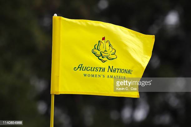 A pin flag is displayed during the final round of the Augusta National Women's Amateur at Augusta National Golf Club on April 06 2019 in Augusta...