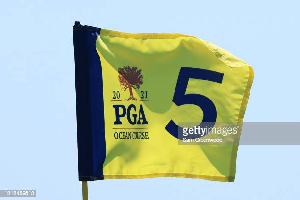 Pin flag is displayed on the fifth green during a practice round prior to the 2021 PGA Championship at Kiawah Island Resort's Ocean Course on May 17,...