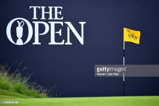 A pin flag is seen on course during the first round of the 148th Open Championship held on the Dunluce Links at Royal Portrush Golf Club on July 18...