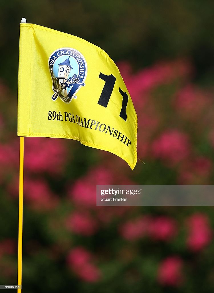 A pin flag on the 11th hole during a practice round prior to