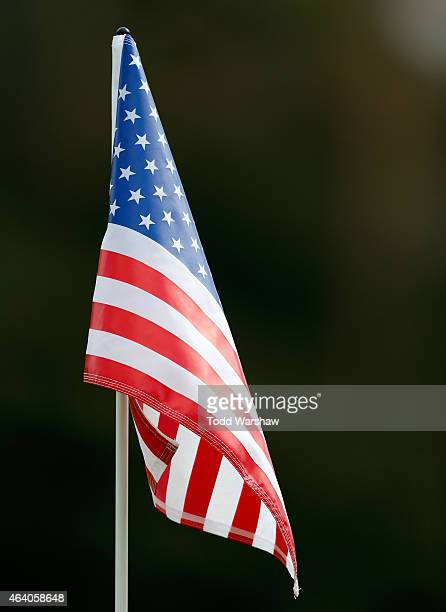 A pin flag on the 14th hole during round three of the Northern Trust Open at Riviera Country Club on February 21 2015 in Pacific Palisades California
