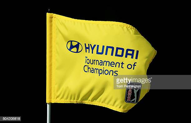 A pin flag waves in the wind during the third round of the Hyundai Tournament of Champions at the Plantation Course at Kapalua Golf Club on January 9...