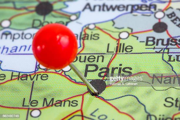 Pin in a map of Paris