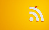 Pin Paper RSS Symbol on Yellow Background