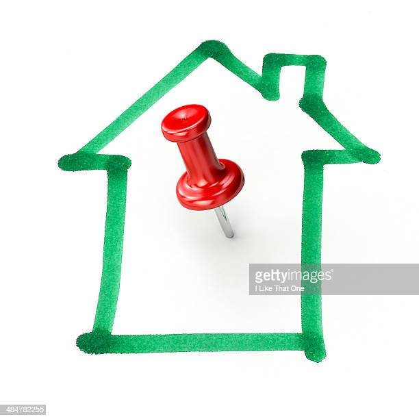 Pin placed within a house icon