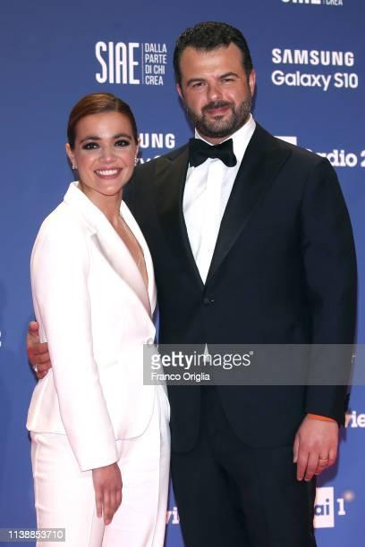 Pina Turco and Edoardo De Angelis attend the 64. David Di Donatello awards on March 27, 2019 in Rome, Italy.