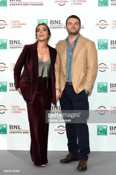 Pina Turco and Edoardo De Angelis attend the Il Vizio Della Speranza photocall during the 13th Rome Film Fest at Auditorium Parco Della Musica on...