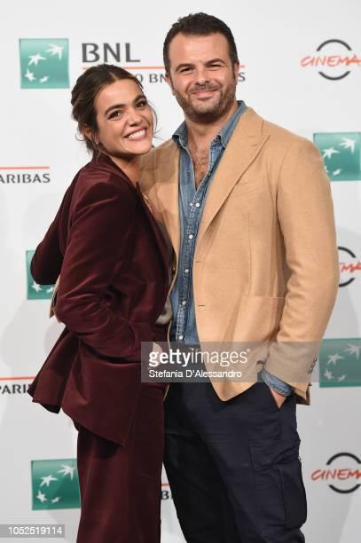 """Pina Turco and Edoardo De Angelis attend the """"Il Vizio Della Speranza"""" photocall during the 13th Rome Film Fest at Auditorium Parco Della Musica on..."""