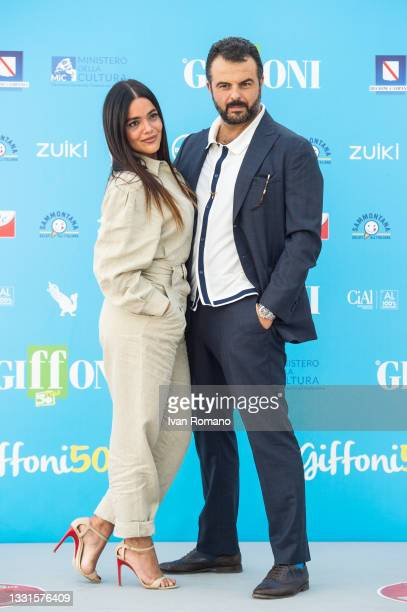 Pina Turco and Edoardo De Angelis attend the photocall at the Giffoni Film Festival 2021 on July 30, 2021 in Giffoni Valle Piana, Italy.
