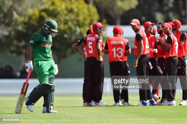 Pinak Ghosh of Bangladesh looks dejected after being dismissed for 0 runs by Faisal Jamkhandi of Canada during the ICC U19 Cricket World Cup match...