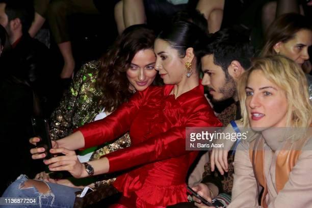 Pinar Tezcan Ahu Yagtu Oguz Erel and Zeynep Soylu attend the MOFC Eda Gungor show during the MercedesBenz Fashion Week Istanbul March 2019 at Zorlu...