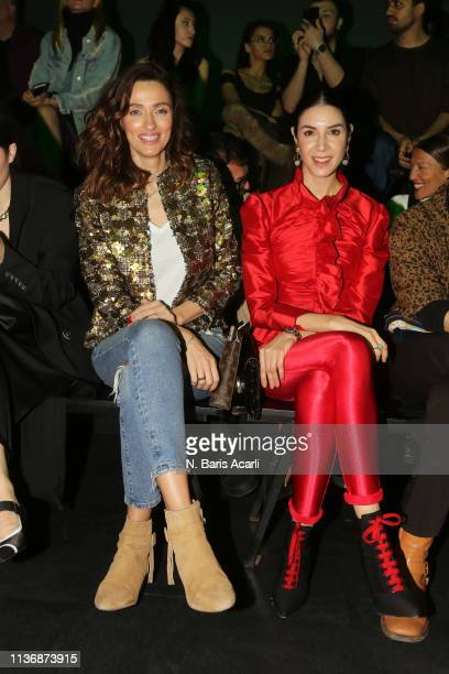 Pinar Tezcan and Ahu Yagtu attends the MOFC Eda Gungor show during the MercedesBenz Fashion Week Istanbul March 2019 at Zorlu Center on March 19 2019...