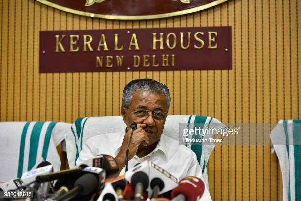 Pinarayi Vijayan Chief Minister of Kerala holds a press conference at Kerala House on the completion of two years by his government on June 23 2018...