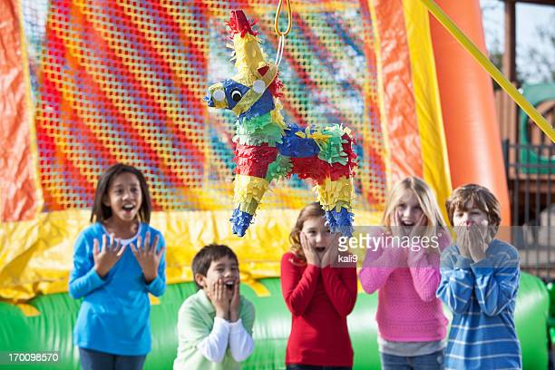 pinata at children's birthday party - pinata stock pictures, royalty-free photos & images