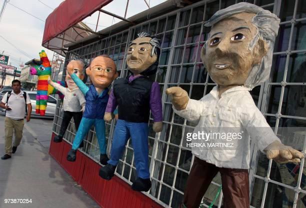 Pinatas depicting Mexican presidential candidates Jose Antonio Meade Ricardo Anaya independent Jaime 'el Bronco' Rodriguez Calderon and Andres Manuel...