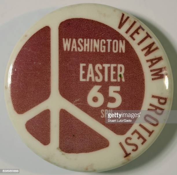 Pinback button with a peace symbol for an Easter protest March on Washington to call for an end to the Vietnam War June 30 2017