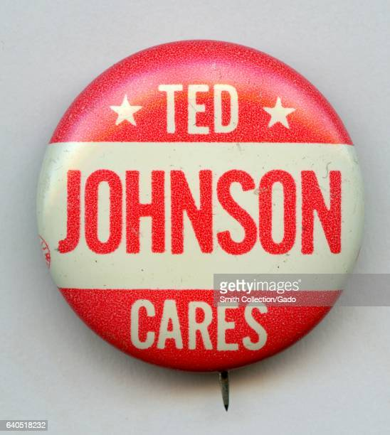Pinback button with lettering reading Ted Johnson Cares in the white and red colors of the Australian Labor party 1950