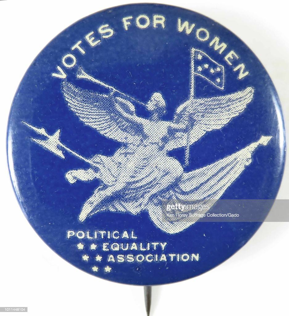 Pinback Button With Text Reading Votes For Women From The