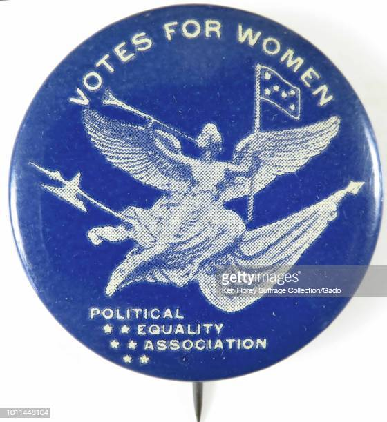 Pinback button with text reading Votes for Women from the Political Equality Association advocating for women's suffrage 1910