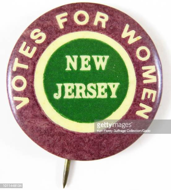 Pinback button with text reading Votes for Women New Jersey advocating for women's suffrage 1910