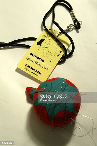 Pinball and ID card are seen backstage at the Donald Deal show during Olympus Fashion Week Spring 2005 at the Bryant in Bryant Park September 11 2004...
