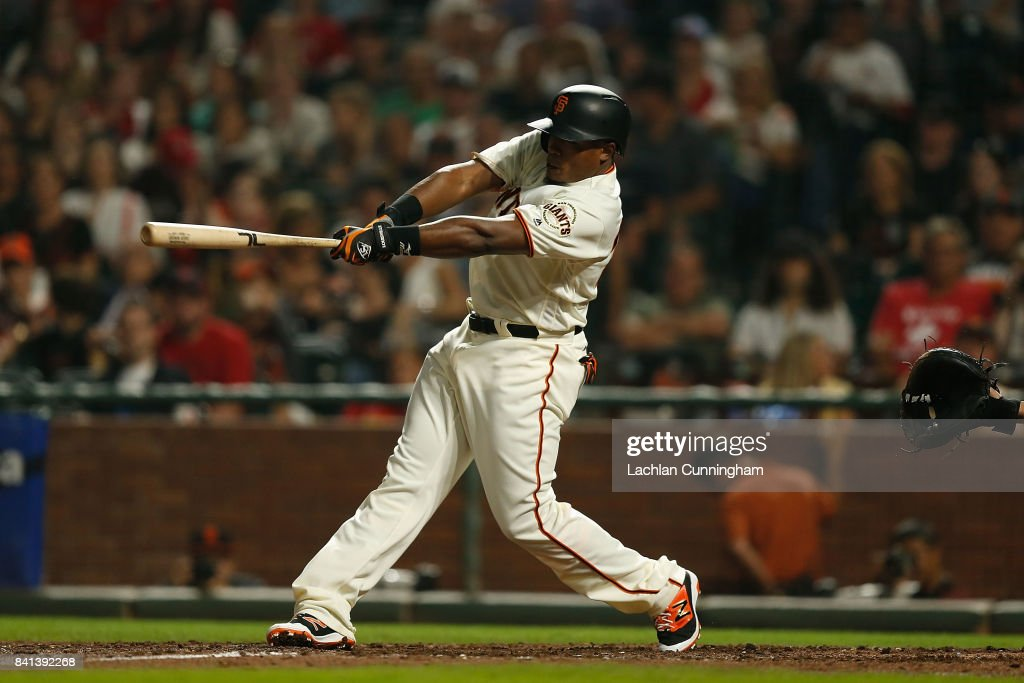 Pinch hitter Carlos Moncrief #39 of the San Francisco Giants at bat in the fifth inning against the St Louis Cardinals at AT&T Park on August 31, 2017 in San Francisco, California.