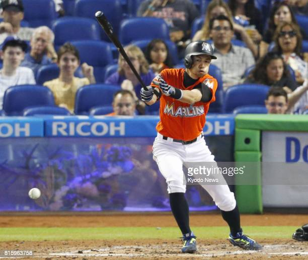 Pinch hitter Ichiro Suzuki of the Miami Marlins hits an infield single his 3055th in Major League Baseball to tie Rickey Henderson at 23rd on the...