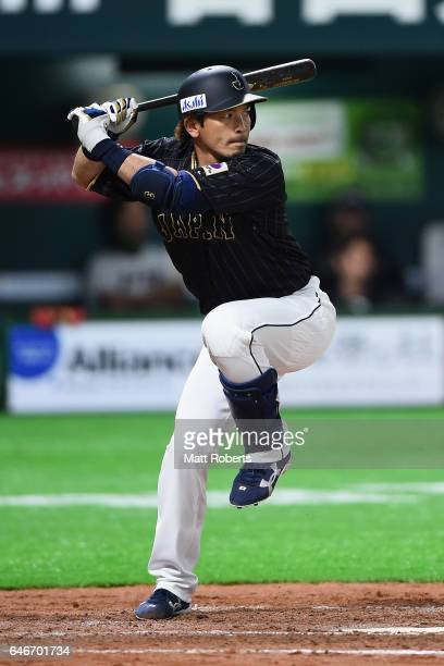 Pinch hitter Infielder Nobuhiro Matsuda of Japan at bat in the top of the seventh inning during the SAMURAI JAPAN Sendoff Friendly Match between CPBL...