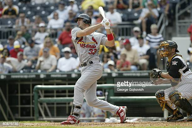Pinch hitter Josh Phelps of the St Louis Cardinals bats during a game against the Pittsburgh Pirates at PNC Park on September 14 2008 in Pittsburgh...