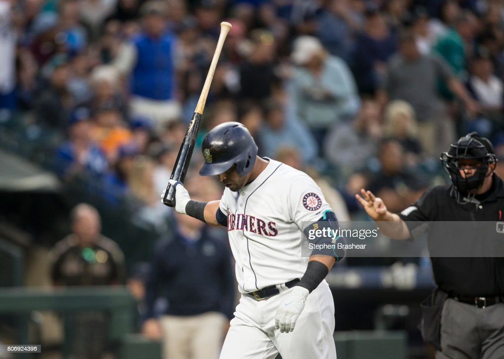 Pinch hitter Nelson Cruz #23 of the Seattle Mariners reacts after striking out to relief pitcher Peter Moylan #47 of the Kansas City Royals during the seventh inning of a game at Safeco Field on July 3, 2017 in Seattle, Washington.