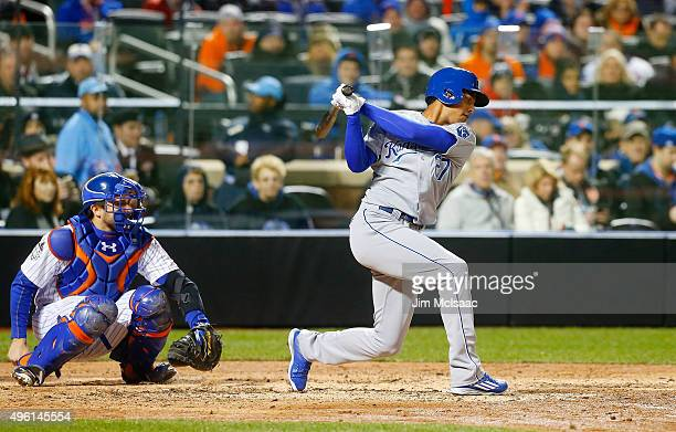 Pinch hitter Raul Mondesi of the Kansas City Royals bats in the fifth inning against the New York Mets during game three of the 2015 World Series at...