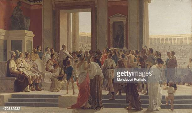'Pindar enhances a winner in the Olympic Games by Joseph Sciuti 19th century oil on canvas Italy Lombardy Milan Pinacoteca Brera Whole artwork view...