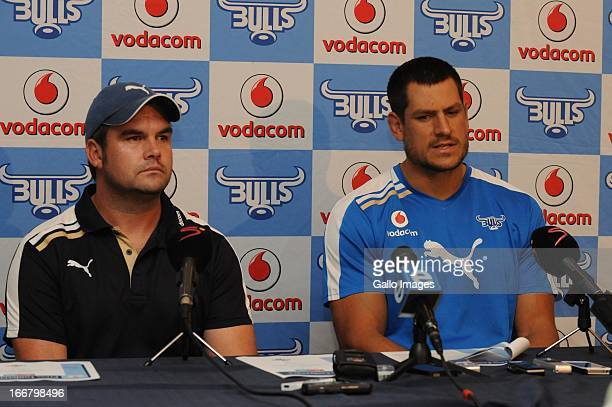 Pine Pienaar and Pierre Spies during the Vodacom Bulls training session and press conference at Loftus Versfeld on April 17, 2013 in Pretoria, South...