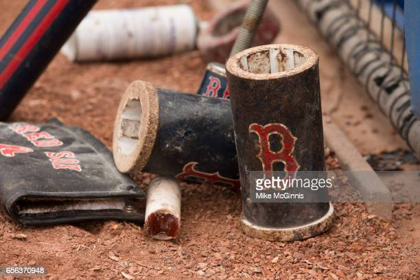 Pine tar and the weights in the on deck circle during the Spring Training game between the Toronto Blue Jays and the Boston Red Sox at Florida Auto...