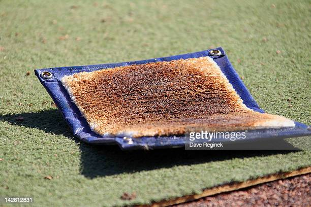A pine tar rag sits in the batters circle of the during a MLB game between the Detroit Tigers and the Boston Red Sox at Comerica Park on April 8 2012...
