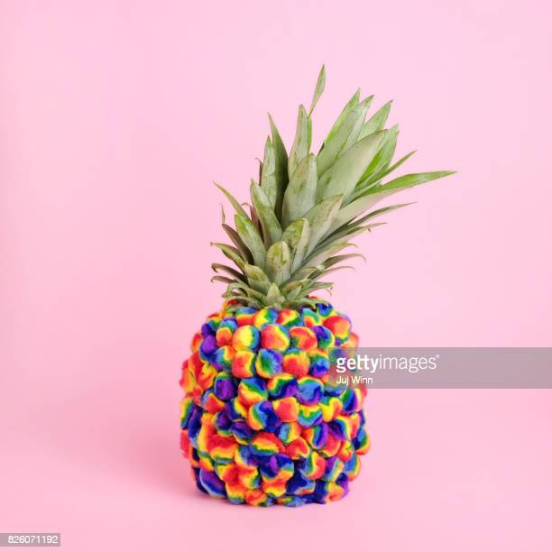 pineapple covered in tie-dye pompoms