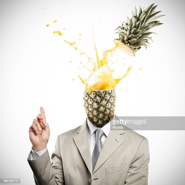 Pineapple headed businessman having an explosive idea