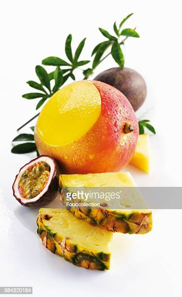 Pineapple, mange and passion fruit