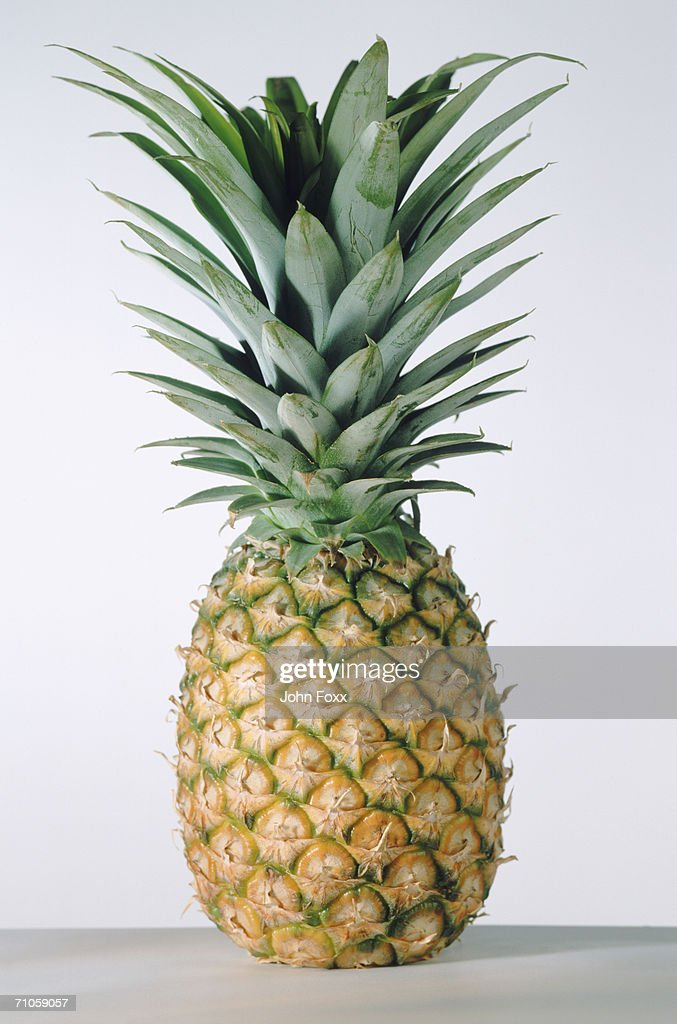 Pineapple on white background, close-up : Stock Photo
