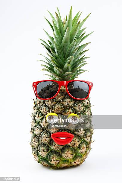 pineapple portrait - funny cartoon stock photos and pictures