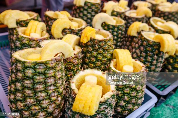 Pineapple smoothie served in a pineapple, Portobello Road Market, London