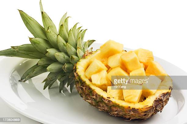 pineapple tropical fruit, chopped in cubes for fresh food preparation - cross section stock pictures, royalty-free photos & images