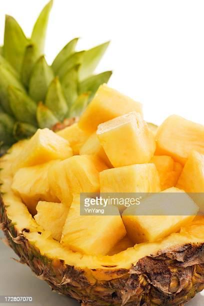 Ananas tropischen Frucht Kantenlänge herzustellen, frisch zubereitet, geschnitten, in Bowl