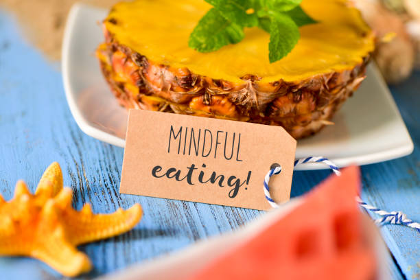 pineapple, watermelon and text mindful eating