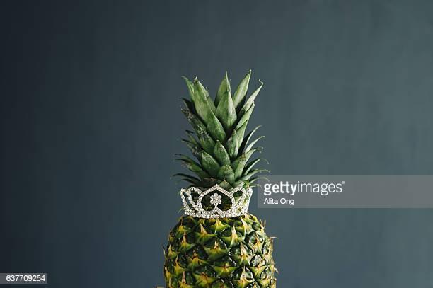Pineapple wearing tiara