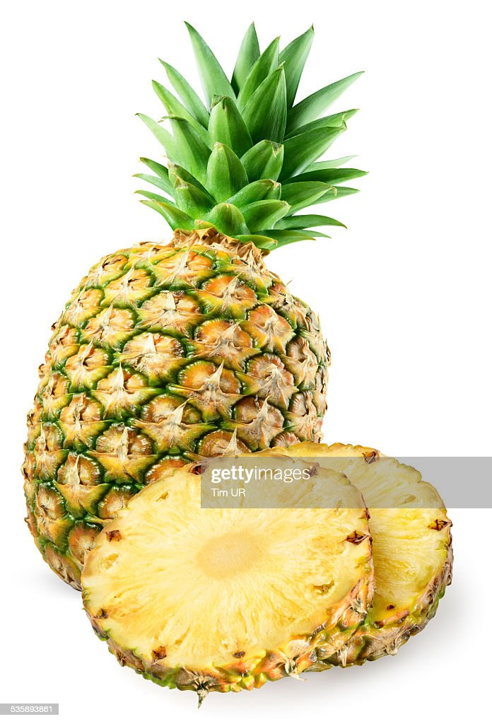 Pineapple with slices isolated on white : Stockfoto