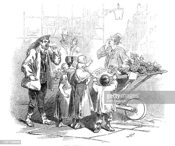 Pine-Apples, a penny a slice, 1845. Londoners buying fruit from a barrow: '...the mode of retailing them in the streets of the metropolis - just as...